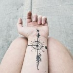 Great Compass Wrist Tattoo Designs For Girls