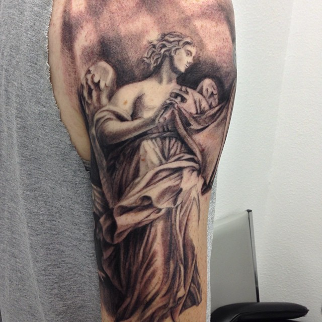 Half sleeve tattoo designs black and gray angel tattoo love for Guardian angel half sleeve tattoos