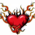 Heart Tattoo With Flames Art Tattoo Designs