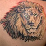 Lion Head Back Tattoo Designs For Men