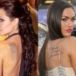 Megan Fox And Angelina Jolie Female Celebrity Tattoos