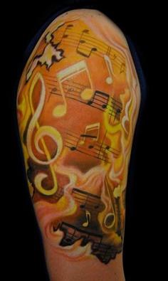 music half sleeve tattoo designs tattoo love. Black Bedroom Furniture Sets. Home Design Ideas
