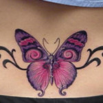 Pink Butterfly Lower Back Tattoo Designs