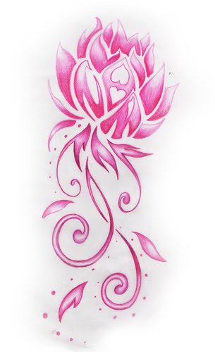 pink design lotus flower pattern tattoo love