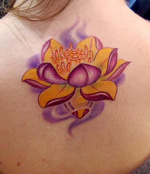 Pink Lotus Flower Upper Back Tattoo Designs Tattoo Love