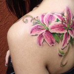Pink Lotus Shoulder Tattoo Designs For Women