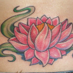Pink Lower Back Lotus Tattoo Designs