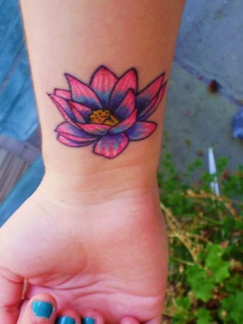 Pink Wrist Lotus Flower Tattoo Designs | Tattoo Love