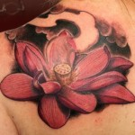 Red Lotus Flower Shoulder Tattoo Designs