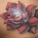 Red Small Lotus Flower Tattoo Designs