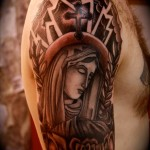 Religious Half Sleeve Mary Tattoo Designs