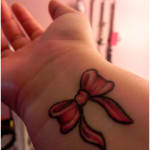 Ribbon Wrist Tattoo Designs For Girls