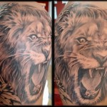 Roaring Lion Tattoo Designs For Men