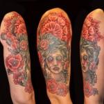 Rose Blood Half Sleeve Tattoo Designs