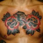 Roses Chest Tattoo For Men