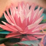 Shoulder Pink Lotus  Flower Tattoo Designs