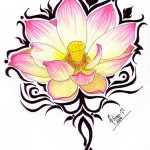 Tribal Pink Lotus Flower Tattoo designs