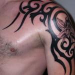 Tribal Tattoo Flowers Designs For Mens Shoulder
