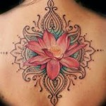 Upper Back Pink Lotus Flower Tattoo Designs