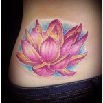 Waist Pink Lotus Flower Tattoo Designs