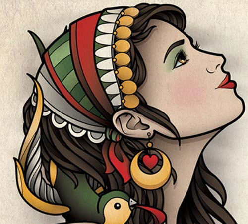 Gypsy-Girl-Tattoo-with-Romantic-Quote Gypsy Girl Tattoo