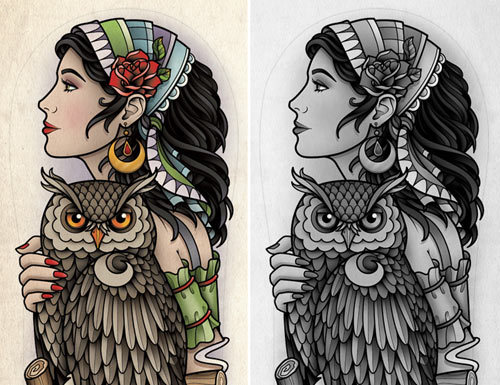 Gypsy-Girl-with-Owl-Tattoo Gypsy Girl Tattoo