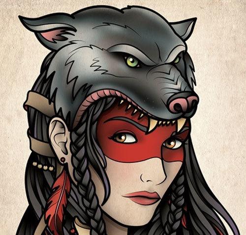 Gypsy-Girl-with-Wolf-Headgear-Tattoo
