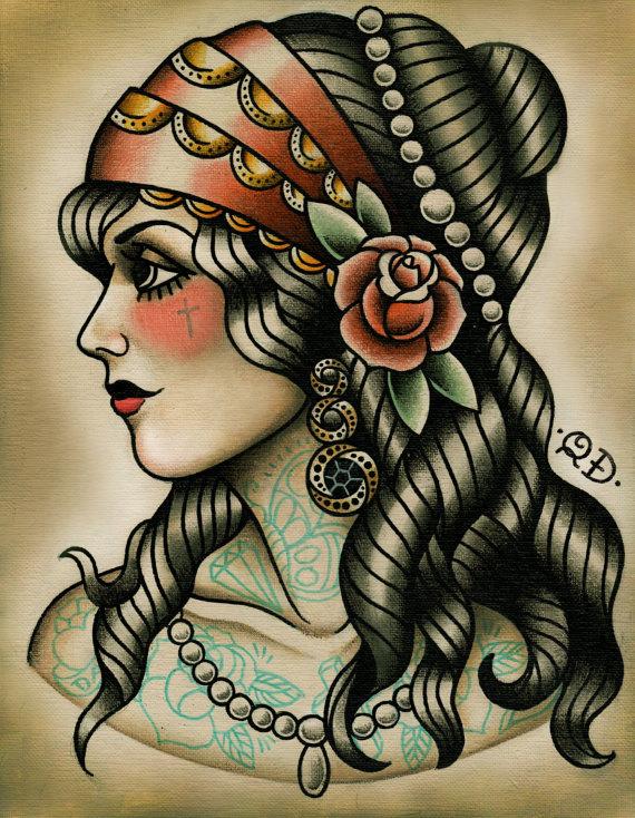Gypsy-Tattoo-Design-Flash-Gypsy Girl Tattoo