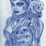 gypsy-woman-holding-skull-tattoo-design