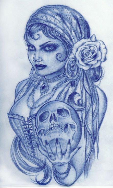 gypsy-woman-holding-skull-tattoo-design