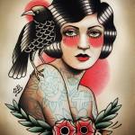 old school women tattoos