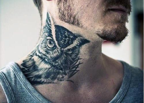 owl-side-neck-tattoos
